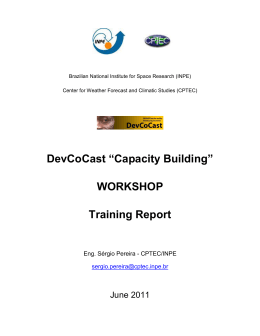 "DevCoCast ""Capacity Building"" WORKSHOP Training Report"