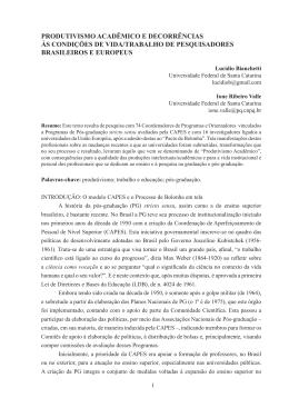 produtivismo acadêmico e decorrências às condições de