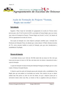 """Acção de Formação do Projecto """"Nestum, Rugby nas escolas"""""""