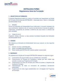 ENTRAJUDA-FORMA Regulamento Geral da Formação