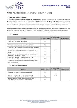 A acção RELAÇÕES INTERPESSOAIS E TRABALHOS EM