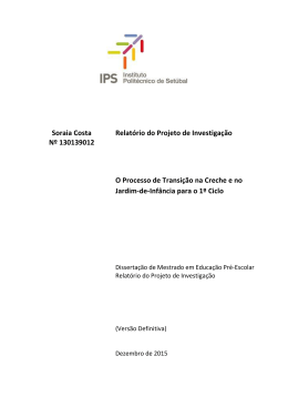 Relatório do Projecto de Investigação