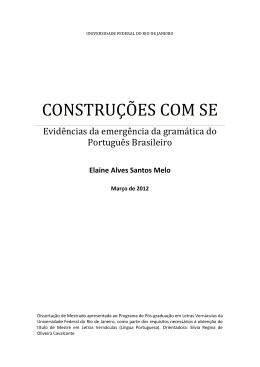 CONSTRUÇÕES COM SE - Faculdade de Letras