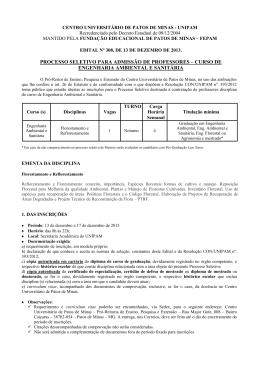 processo seletivo para admissão de professores – curso