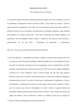 PRIMEIRAS REFLEXÕES Por: Doriedson Alves de Almeida