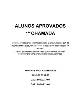 ALUNOS APROVADOS 1ª CHAMADA