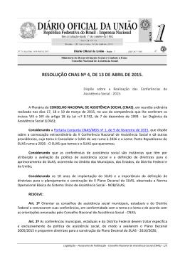 RESOLUÇÃO CNAS Nº 4, DE 13 DE ABRIL DE 2015.