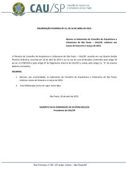 Deliberação Plenária nº 41, de 16 de abril de 2015