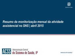 Relatório resumo da atividade assitencial de janeiro a abril de 2015