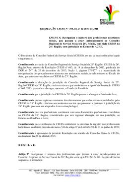 RESOLUÇÃO CFESS Nº 708, de 27 de abril de 2015 EMENTA