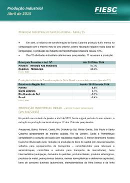 Produção Industrial Abril de 2015
