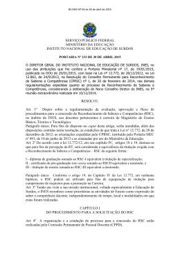 Diretrizes RSC Portaria Nº 233 de 30 de abril de 2015