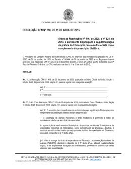 RESOLUÇÃO CFN N° 556, DE 11 DE ABRIL DE 2015 Altera as