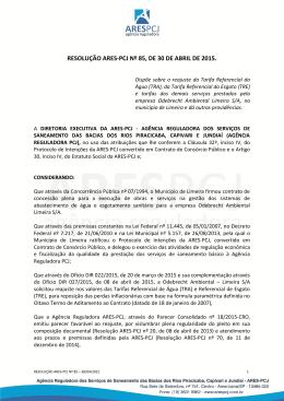 RESOLUÇÃO ARES-PCJ Nº 85, DE 30 DE ABRIL DE 2015.