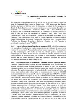 ATA DA REUNIÃO ORDINÁRIA DO COMDES DE ABRIL DE 2015