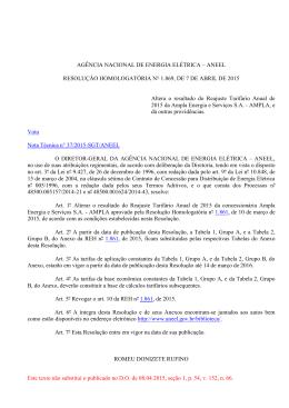 Resolução homologatória nº 1869, de 07 de abril de 2015