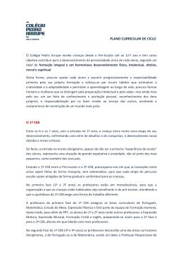 PLANO CURRICULAR DE CICLO O 1º CEB