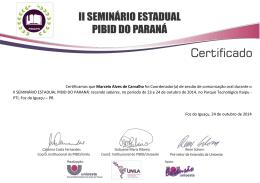 Certificamos que Marcelo Alves de Carvalho foi Coordenador(a) de