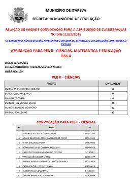 PEB II - CIÊNCIAS MUNICÍPIO DE ITAPEVA SECRETARIA