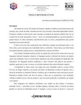 POESIA E IDENTIDADE JUVENIL Ana Paula de Almeida Santos