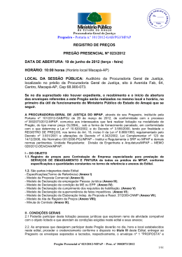 Portaria n.º 101/2012-GAB/PGJ/MPAP REGISTRO DE PREÇOS