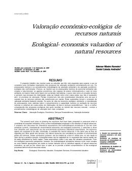 Valoração econômicoecológica de recursos naturais Ecological