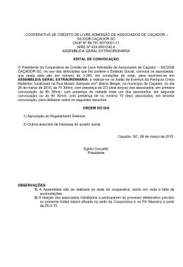 COOPERATIVA DE CRÉDITO DE LIVRE ADMISSÃO DE