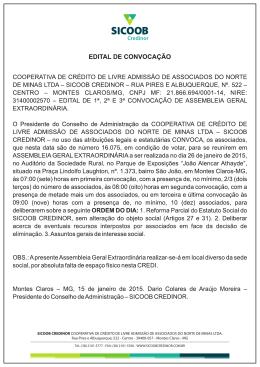 SICOOB CREDINOR COOPERATIVA DE CRÉDITO DE LIVRE