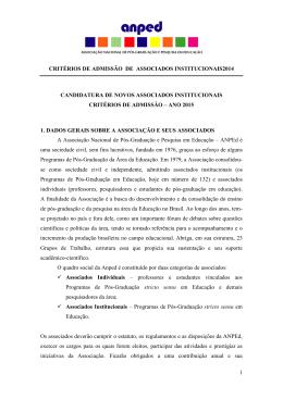 Critérios de Admissão de Sócios Institucionais 2015