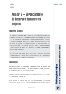 Aula Nº 9 – Gerenciamento de Recursos Humanos em projetos