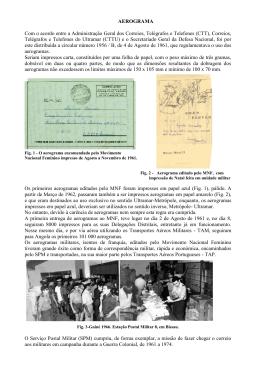 AEROGRAMA Com o acordo entre a Administração Geral dos