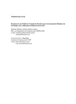 Administração Geral Proposta de um Modelo de Tomada de