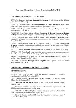 Referências Bibliográficas do Exame de Admissão ao EAOAP 2015