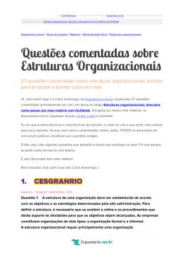 Questões comentadas sobre Estruturas Organizacionais