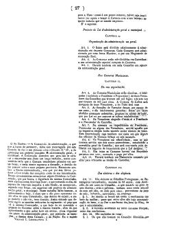 Projecto de Lei d`administração geral e municipal