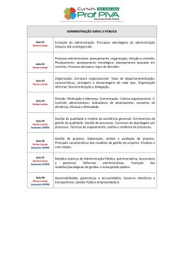 ADMINISTRAÇÃO GERAL E PÚBLICA Evolução da administração