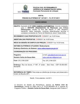 POLÍCIA CIVIL DE PERNAMBUCO GERÊNCIA DE