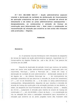 P.º R.P. 68/2008 DSJ-CT - Acção administrativa especial visando a
