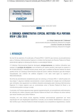 A COBRANÇA ADMINISTRATIVA ESPECIAL INSTITUÍDA PELA