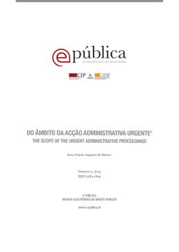 Do Âmbito da Acção Administrativa Urgente - E