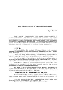 NOVO CÓDIGO DE TRÂNSITO: OS MUNICÍPIOS E O POLICIAMENTO