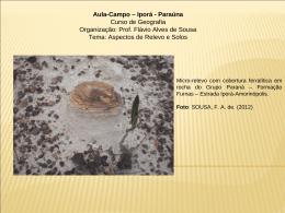 Aula-Campo – Iporá - Paraúna Curso de Geografia