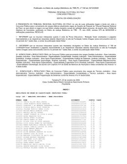 Publicado no Diário de Justiça Eletrônico do TRE