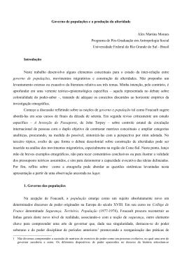 Governo de populações e a produção da alteridade Alex Martins