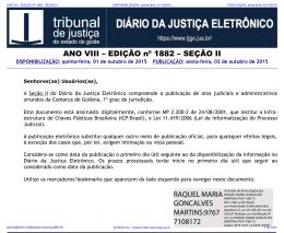 TJ-GO DIÁRIO DA JUSTIÇA ELETRÔNICO - EDIÇÃO 1882