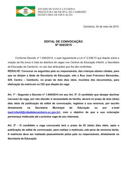 EDITAL DE CONVOCAÇÃO Nº 044/2015