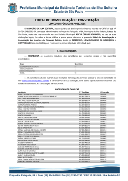 Edital de Convocação e Homologação dos Inscritos no Concurso