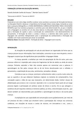 FORMAÇÂO LEITORA NA EDUCAÇÃO INFANTIL