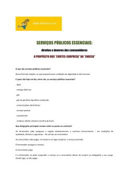 SERVIÇOS PÚBLICOS ESSENCIAIS:
