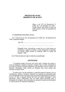 PROJETO DE LEI DO SENADO Nº 436, de 2015
